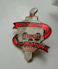 ZP47 Death Before Dishonor Special Forces Military pin badge Biker Skull Dagger
