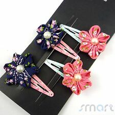 4pcs Mixed Flower Designed Hair Clip Snaps Accessories for Girls Kids Baby 1 Set