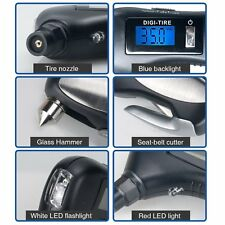 New 5 In 1 Auto Tire Pressure Gauge Emergency Tool Flashlight Monitor Diagnostic