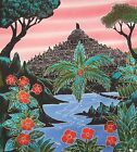 "Indonesian Hand Dyed Bourabadour Temple Asia Cotton Batik Panel 18"" x 19"""