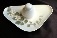 Royal Copenhagen Triangular Pen Tray w/ Clematis Flowers + Inkwell Pot