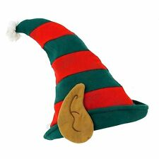 KIDS Child Christmas ELF HAT WITH PIXIE EARS IN RED & GREEN -FANCY DRESS GROTTO