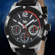 Wohler Multi Function Chronograph Mens Soft Leather Strap Watch  NEW