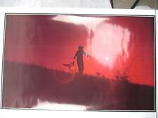 Vintage 1971 DISCOVERY Poster Red Sunset Boy Dog Mark Frasier Western Graphics