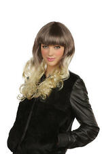Ladies Two Tone Black Brown Pop Star Wig Celebrity Fancy Dress