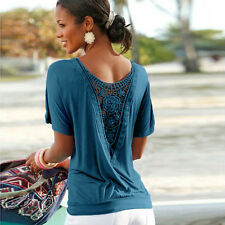 Plus Size Womens Open Back Crochet Lace T-Shirt Top Loose Baggy Shirts Blouses