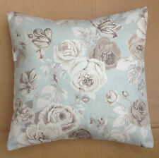 "NEW 16"" Shabby Duck Egg Blue & Cream Rose Floral Vintage Chic Cushion Cover"