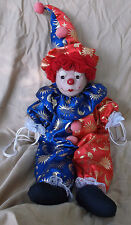 Vintage Circus Clown Porcelain Head String Marionette Puppet on Swing
