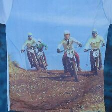 NOS vtg 70s MOTOCROSS PHOTO PRINT L/S T-Shirt S/M motorcycle mx biker jersey 80s
