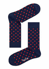 Happy Socks Navy Blue & Red Dot Socks UK Size 7 - 11  Unisex Mens Dotty Sock
