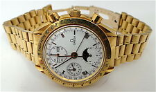 Golden Gate Omega Speedmaster 18K Gold Triple Date Moonphase Chronograph Watch