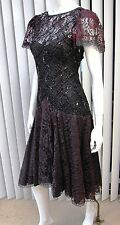 VINTAGE SHUET YOUNG FOR HW COLLECTION LACE DRESS SIZE 6, BLACK/BURGUNDY