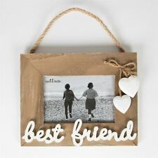 SASS & BELLE FARMHOUSE RUSTIC WOODEN BEST FRIEND HEARTS HANGING PHOTO FRAME GIFT