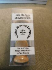 Justice Shaving Brush 100% pure Badger Bristles w/Wooden Handle~NEW~Free Ship~