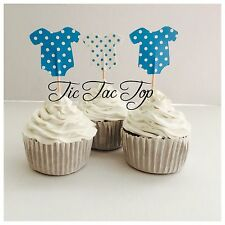 12 x Boy Baby Shower CUPCAKE FOOD TOPPER Party Pick Blue *Superb Quality*