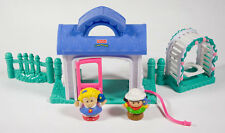 FISHER PRICE LITTLE PEOPLE GARDEN TEA PARTY HOUSE WITH SWING & FIGURES BIRDS