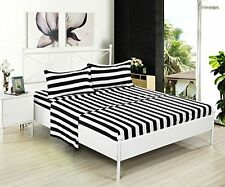 Kuality Black White Striped Brushed Microfiber Bedding 4pc, Wrinkle,Stain & Fade