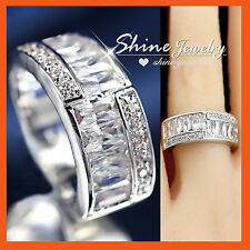 18K WHITE YELLOW GOLD GF WOMENS VINTAGE SQUARE LAB DIAMOND 8MM BAND WEDDING RING