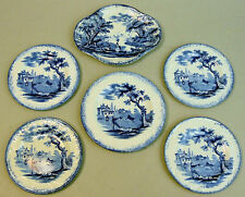 ANTIQUE RIDGWAY BLUE & WHITE POTTERY DICKENS SERIES CHILDS PART SET OF PLATES