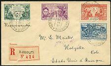 FRZ. somalo-Costa 1931 R-lettera coloniale esposizione 138-141 Dijbouti verso gli Stati Uniti