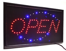 "Large High Visible LED Light Business Classic Open Sign Chain Switch 21.5""x13"""