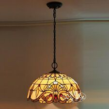 """Elegant Tiffany Style Baroque Pendant Big Stained Glass Ceiling Lamp 15.7"""" Light"""
