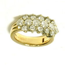 Ladies 14k Yellow Gold Superfit Arthritic 1 Cttw Diamond Cluster Estate Ring