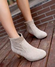 Womens Vogue Cowboy Block High Heels Faux Suede Ankle Boots 8 Colors Plus Size