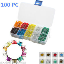 100pcs Assorted Low Profile Mini Micro Blade Fuse Circuit 2Leg For Nissan GM Car