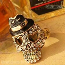 Popular Unisex Bowler Black Hat Crystal Diamond Skull Pirate Stretch Ring Gift