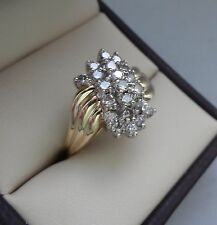 LOVELY 14K YELLOW GOLD .63 TCW DIAMOND CLUSTER WATERFALL RING - 4.8 GRAMS