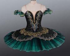 Professional Deep Green Black Gold Ballet Tutu Costume Gypsy Esmeralda YAGP