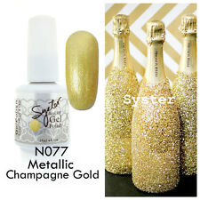 SYSTER 15ml Nail Art Soak Off Color UV Gel Polish N077 - Metallic Champagne Gold