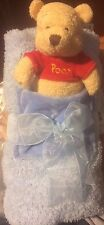 New Disney Store Winnie the Pooh blue chenille blanket and plush Soft 25x30""