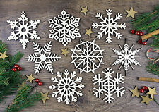 Set of 8x Christmas Wooden Snowflake Ornaments / Wood Decoration / Gift