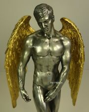 """11"""" NUDE MALE GUARDIAN ANGEL Winged Sculpture Statue *Cold Cast Pewter"""