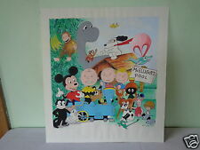 1998 SIGNED KRIVAC CARTOON COLLAGE PEANUTS FELIX CAT BAMBI MIGHTY MOUSE PAINTING