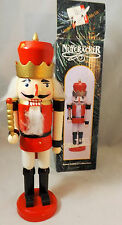 "10"" Red White & Black Wooden King Nutcracker With Wand And Story on Box"