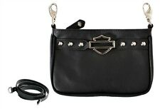 Harley-Davidson® Women's Rider Bar & Shield Leather Hip Bag Purse RD5541L-BLACK