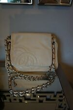 CHANEL  Lambskin CC Accordion Flap Off White Shoulder Bag