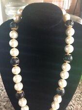 Collar de perlas de imitación y Negro, Vidrio de patrón, 12mm -! última!