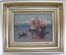 Giovanni Gemälde Italien Venedig Fischerboote & Gondel 1. Hälfte 20. Jh.