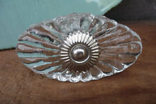 Clear Glass Scallop Crackle DRAWER PULL KNOB with Silver metal base ~ Home Decor