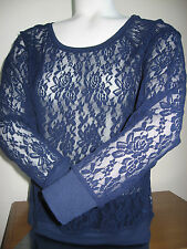 VICTORIA'S SECRET PINK Long Sleeve Lace Shirt Blouse Blue Navy Slouchy SMALL NEW