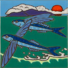 Ceramic Tile Flying Fish Sea life wall decor, hot plate, installation,hand done