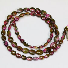Watermelon Tourmaline Smooth oval nugget Bead 15.8 inch strand