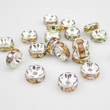 Free shipping 20pcs 8MM Plated silver crystal spacer beads Jewelry Making No.10