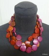 Collier fantaisie 3 rangs de perles plates bois dégradé de rouge rouille rose