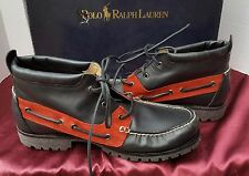 NEW POLO RALPH LAUREN RIDGEMOOR LACE UP MENS LEATHER BOOTS SHOE BLACK RED 10.5 D