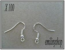 lot 100 supports crochets b apprets bijoux boucles d'oreilles métal argent NEUF